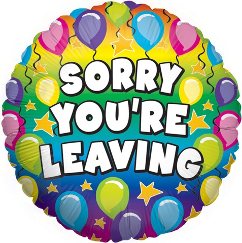 image of an sorry you're leaving balloon
