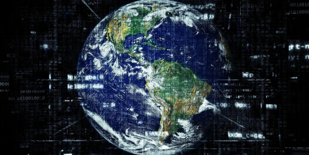 A picture of Earth, with images of data sets superimposed