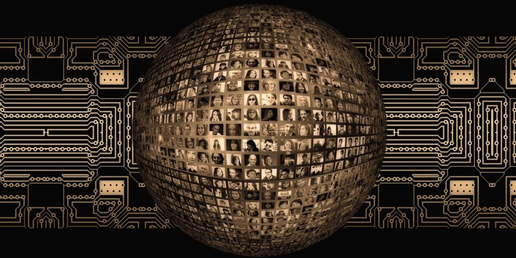 A globe covered in people's profile photos, on a background of circuitry