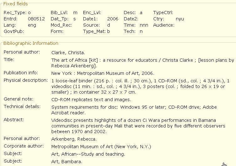 Kit Bibliographic Record Example
