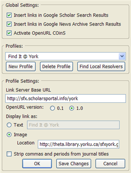 Screenshot of OpenURL Referrer preferences for York people