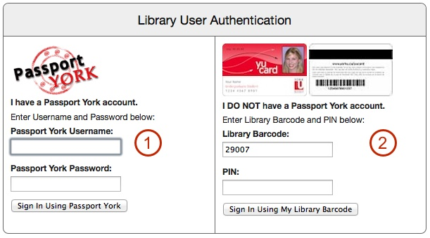 Library user authentication form