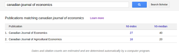 Metrics for the Canadian Journal of Economics in Google Scholar (April 2016)