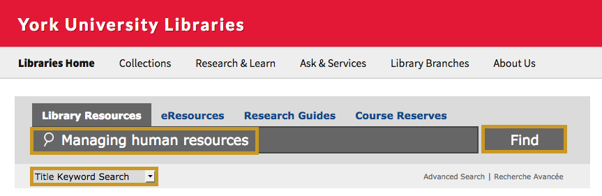 Image of library's homepage with book title entered in search bar, title keyword search selected, and Find highlighted