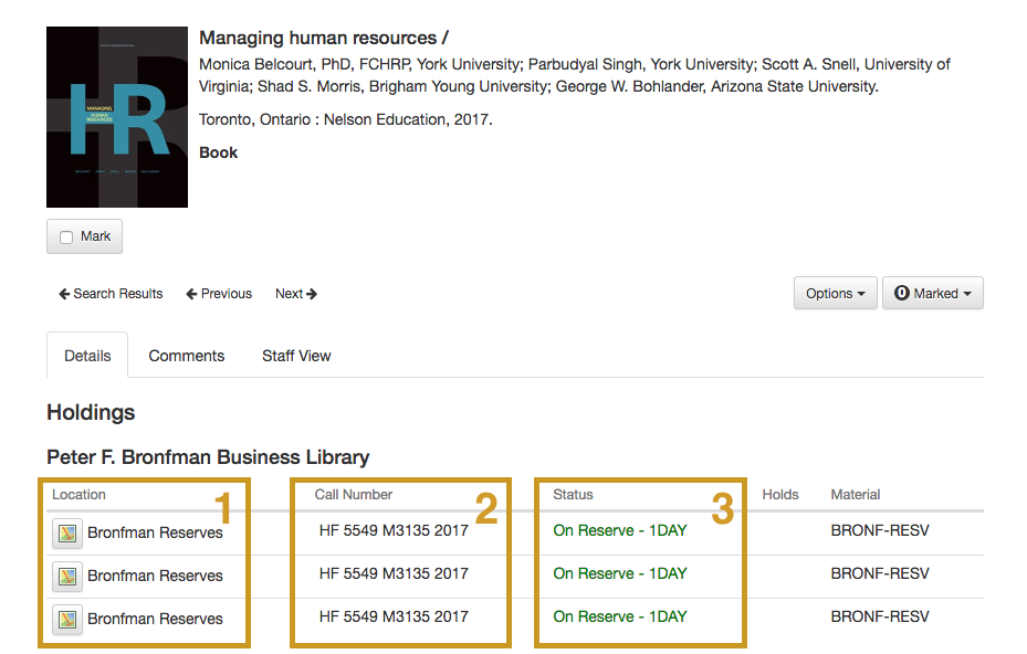 Image of library book record with the location, call number, and status information sections highlighted.