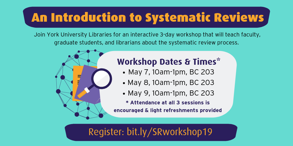 Graphic promoting the Systematic Review Workshop in May 2019