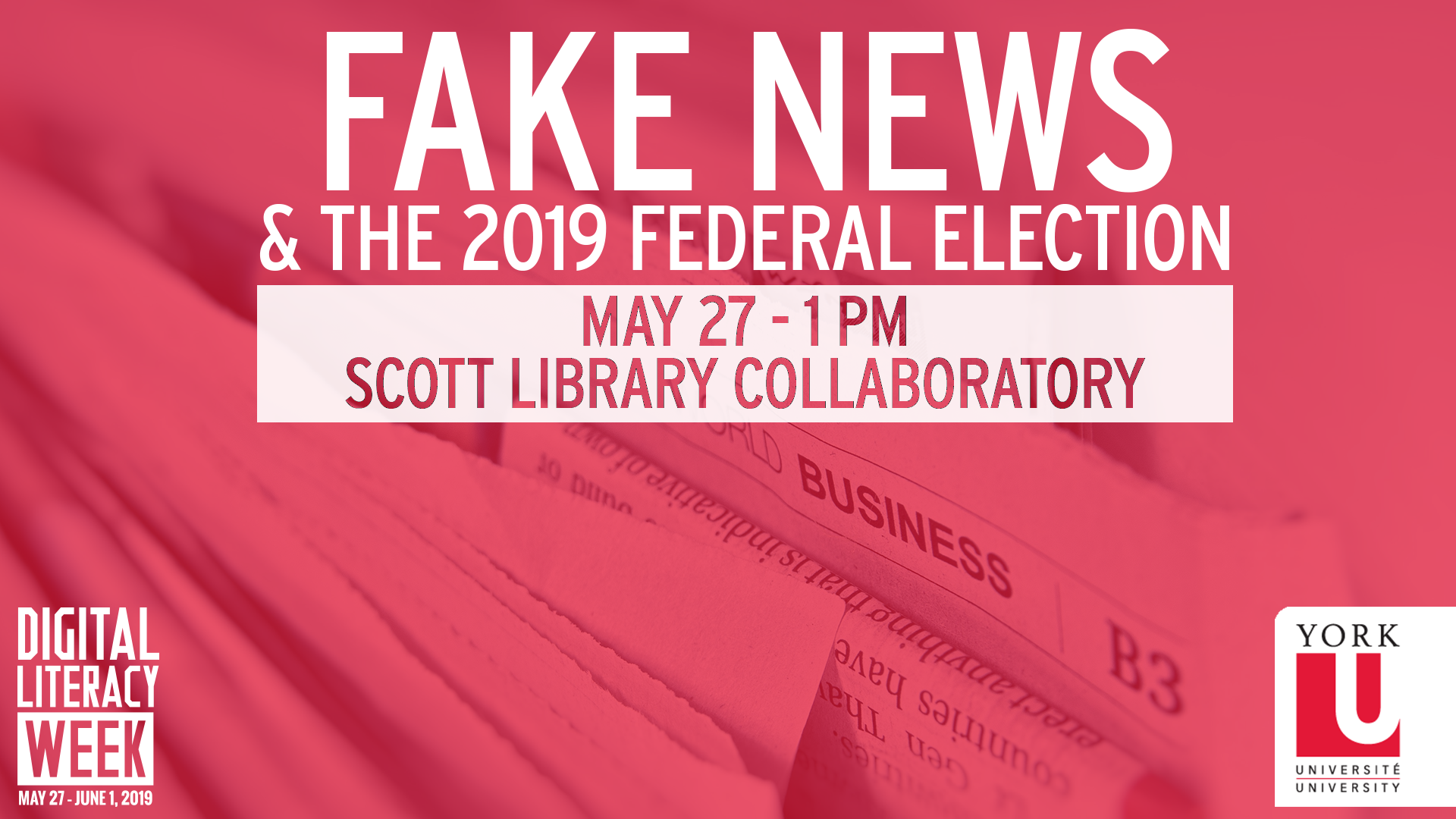 A red graphic promoting a Digital Literacy Week event titled Fake News and the 2019 Federal Election