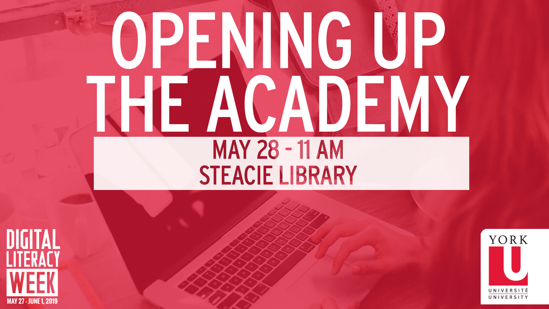 Red graphic promoting a Digital Literacy Week event titled: Opening Up The Academy