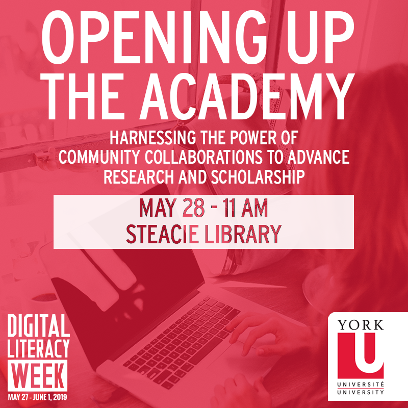 Graphic promoting a Digital Literacy Week event, Opening Up The Academy