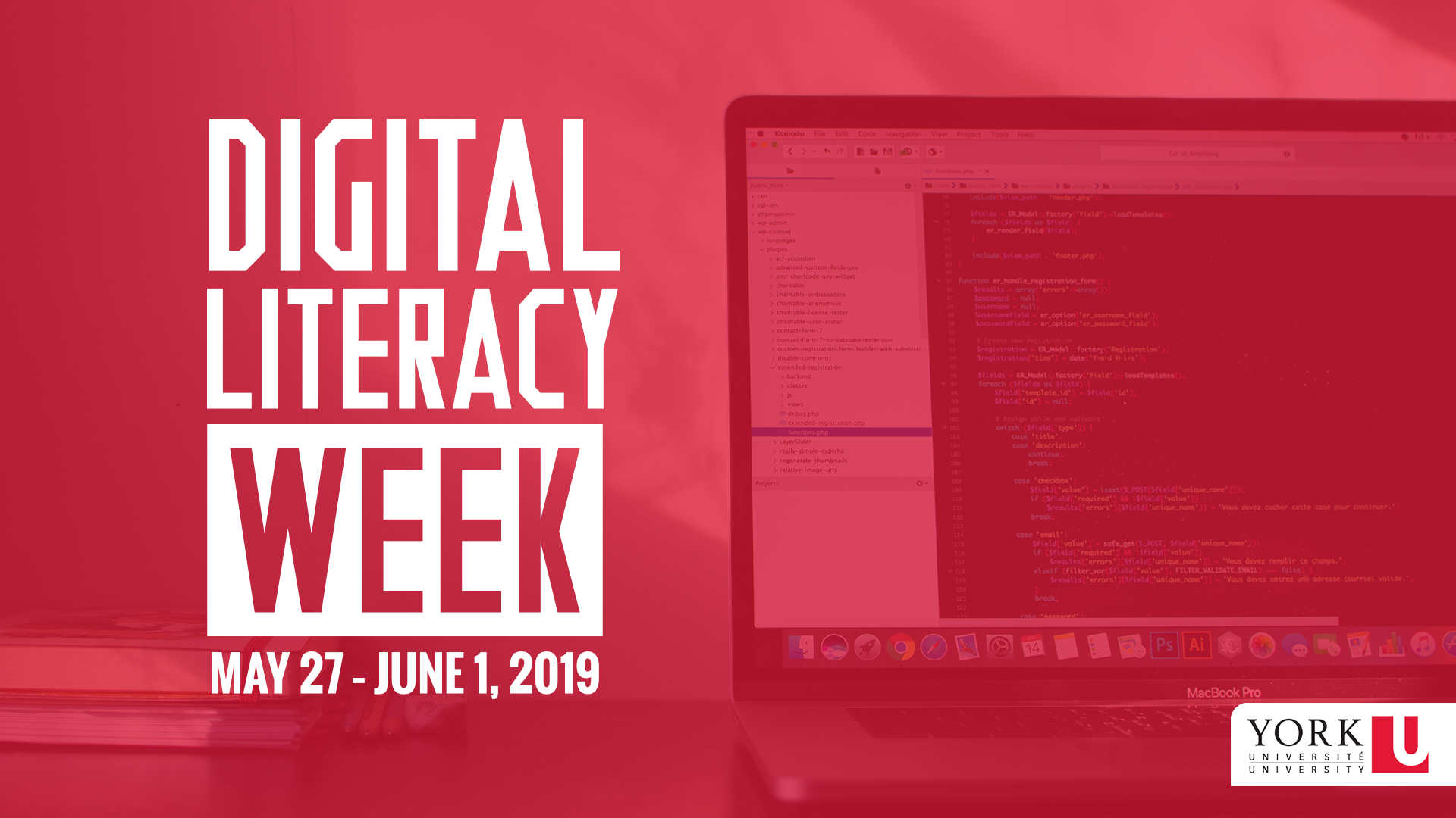 Red graphic with the Digital Literacy Week logo, promoting the event from May 27 to June 1