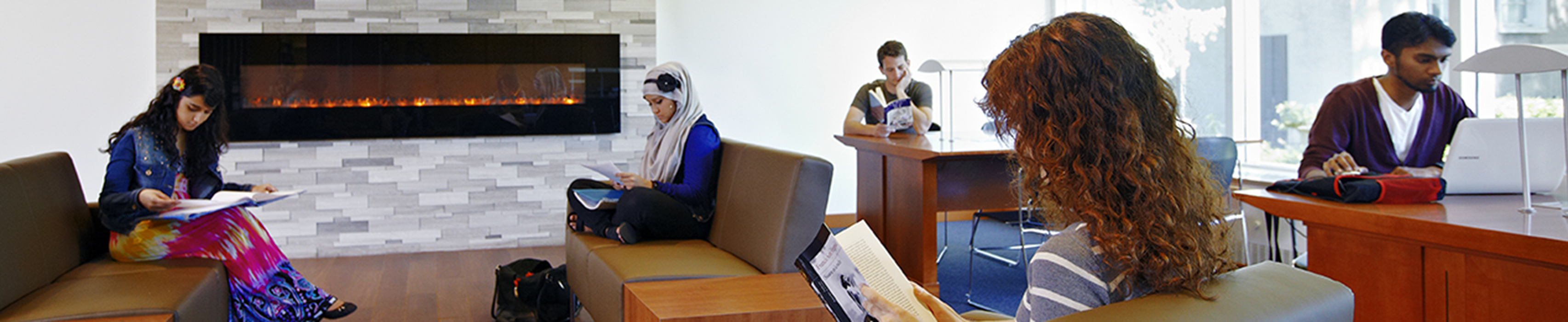 Students reading in the lounge at Frost Library - used as the header image for the CDA website