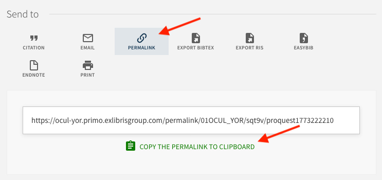 Permalink in OneSearch